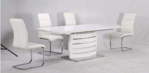 Triest Magasfényű Fehér Étkezőasztal